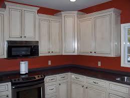 image of cream white glazed kitchen cabinets