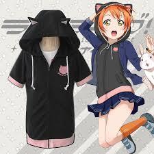 <b>Anime LoveLive</b>! Hoshizora Rin Cute Cat Ear <b>Hoodie</b> Coat Jacket ...