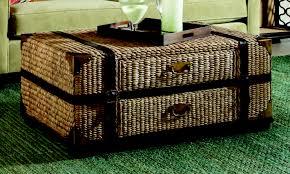 Hammary Hidden Treasures Trunk Coffee Table Hidden Treasures Woven Rattan Trunk Coffee Table In Light