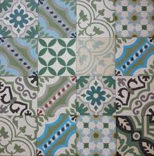 encaustic cement tile patchwork green