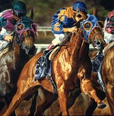 through the gap 2 horse racing oil painting rick timmons 972 897 8309