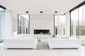 Moderne Wohnlandschaft In Weiß Teppich Kamin Wohn