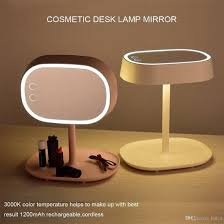 mirror lamp. newest 2 in 1 make up mirror desk lamp touch switch led tabletop mirrors smart brightness chargable illuminated cosmetic magnifying makeup