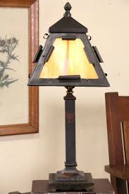 arts crafts mission 1910 antique stained glass lamp