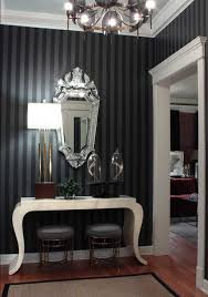 elegant entryway furniture. Blck Wallpaper With Striped Pattern And White Console Table Mirror Lamp Entryway Decorating Elegant Furniture