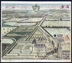 1719 Antique Print Rare Large Broome Park Barham Kent