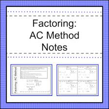 Ac Method Factoring Ac Method Notes By Activities By Jill Tpt