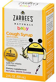 Zarbees Naturals Baby Cough Syrup With Agave Thyme Natural Grape Flavor 2 Ounce Bottle