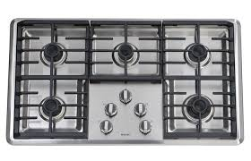 above a great budget option in the pro style category the maytag 36 inch gas cooktop mgc7536ws has five sealed burners one simmer burner