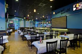 Restaurant Color Design | the combination of blue walls and sandy hard wood  create a truly