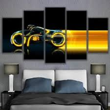 image is loading 5pcs clu tron yellow light cycles movie canvas  on yellow wall art ebay with 5pcs clu tron yellow light cycles movie canvas print wall art home