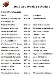 week schedule print out printable 2016 nfl week 3 schedule draft news