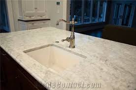 white carrara honed kitchen countertops with ogee edge profile