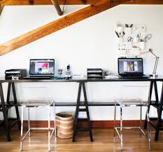 home office small shared. Office:Small Shared Home Office With White Desk And Wall Shelves Also Modern Small