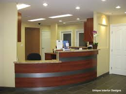 front office decorating ideas. Witching Home Office Interior Design Ideas With Curved Shape Front Desk And Combine Black Wheeled Chair Decorating