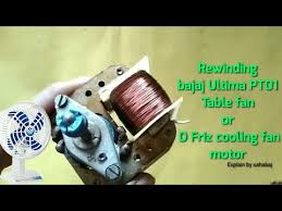 rewinding bajaj ultima pt01 table fan motor d friz cooling fan motor rewinding hindi