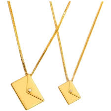 bespoke 18k yellow gold large love letter pendant necklace for