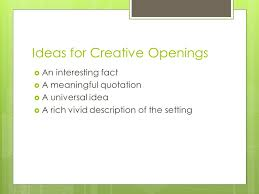 response to literature essay theme analysis ppt video online  4 ideas for creative openings