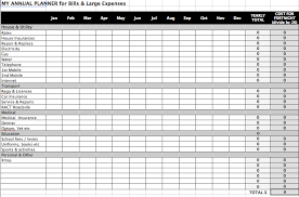annual bill planner simple budget template excel ...