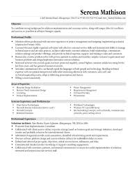 resume templates project manager project management resume resume objectives for servers
