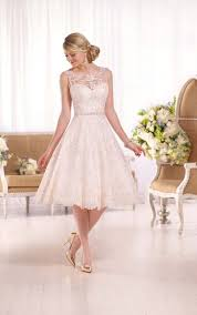 embroidered knee length wedding gown i essense of australia