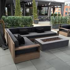 outdoor wooden sofa. Plain Wooden Modern Wooden Sofa With Grey Upholstery And A Laconic Design In Outdoor Wooden Sofa O