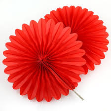 5 red tissue paper fan decorations