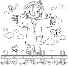 farm fence drawing. Scarecrow In The Field Behind A Wooden Fence. Black And White Coloring Book Page Royalty Farm Fence Drawing L