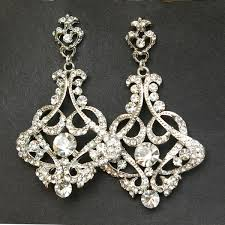 vintage bridal earrings chandelier wedding earrings art deco view larger