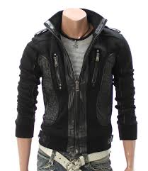 new men chic stylish leather jacket