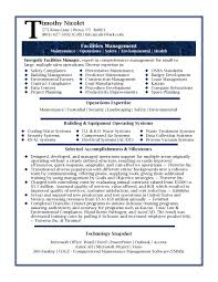 Resume Samples Professional Facilities Manager Sample Facility