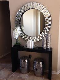 hall console table with mirror. Glamorous Hallway With Coffe Coloured Walls And Large Round Silver Mirror. Hall Console Table Mirror /