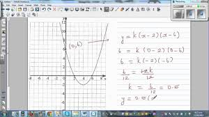 writing equation of a parabola from the graph using intercept and vertex forms you