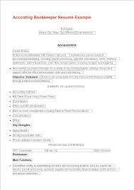 Bookkeeping Resume Acconting Bookkeeper Resume Templates At