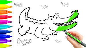 crocodile drawing for kids. Modren Crocodile Crocodile Drawing And Coloring Kids Video With Colored Markers In For T
