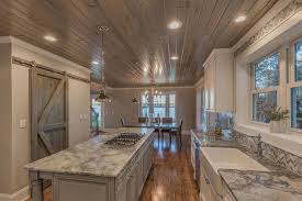wood ceiling lighting. Traditional Kitchen With Woodhaven Plank Wood Ceiling, Emperador Light Marble Countertop, MS International, Ceiling Lighting N