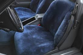 blue sheepskin seat covers