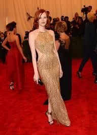 karen elson red hair gold color dress