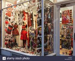Main entrance door and window display of Osiris, quirky fashion and  accessories shop in Glasgow