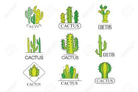 Free Cactus Logo Design Cactus Logo Design Set Desert Plant Green Badges Vector Illustrations