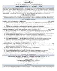 Educational Consultant Resume Sample