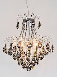 6 bulb chrome smoked glass chandelier