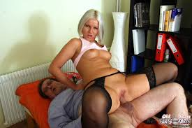 Young woman in stockings fucking doggystyle getting oldman cum.