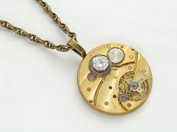 steampunk necklace gold brass gruen pocket watch movement crystal gemstone uni pendant watch jewelry