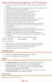 Manufacturing Engineer Cv Template Tips And Download Cv