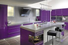 Contemporary Kitchen Design with Purple Kitchen Cabinets and Gray Marble  Backsplash Also Black Leather Stools Ideas