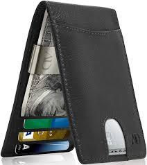 Designer Money Clip Wallet With Card Holder Slim Bifold Wallets For Men Money Clip Wallet Rfid Front Pocket Leather Thin Minimalist Mens Wallet Credit Card Holder