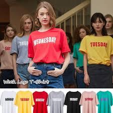 曜日ロゴプリントカラーtシャツ デザインtシャツ クルーネック オーバー