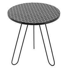 dar 001isl001 islington side table round black honeycomb top 50cm