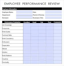Job Performance Evaluation Form Templates Performance Evaluation 9 Download Free Documents In Pdf Word